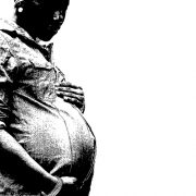 black and white pic of pregnant woman